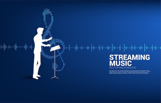 Muziekdirigent met equalizergolf als muzieknoot.