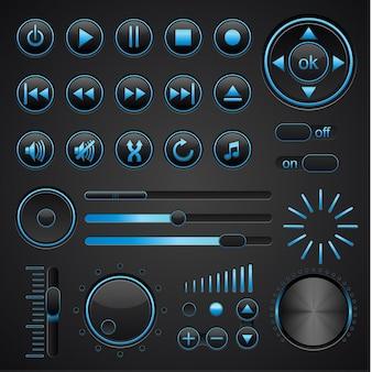 Muziekelementen op donkere achtergrond.