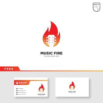 Muziekembleem met brand en visitekaartjesjabloon