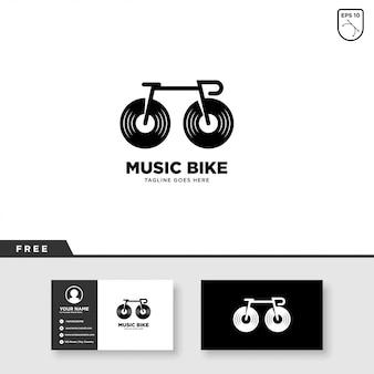 Muziekembleem met fiets en visitekaartjesjabloon