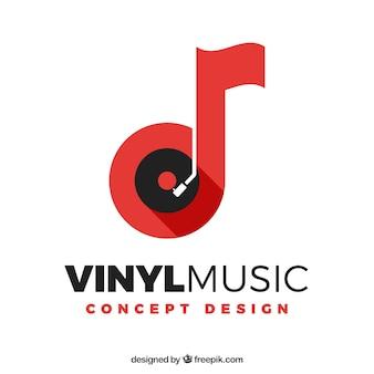 Muziekembleem met nota en vinyl