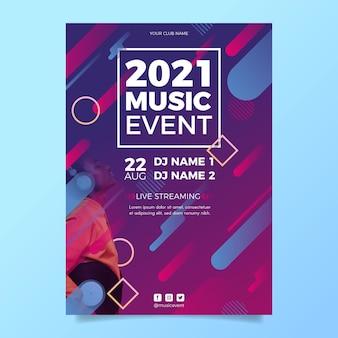 Muziekevenement in 2021 poster sjabloon