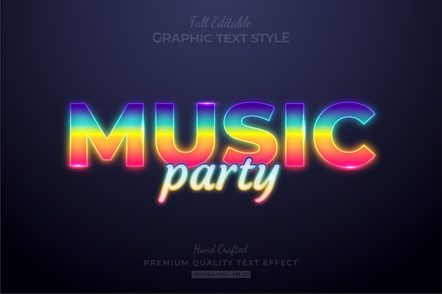 Muziekfeest gradiënt neon bewerkbare teksteffect lettertypestijl