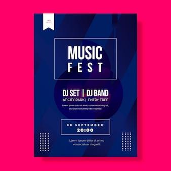 Muziekfeest met djs poster sjabloon