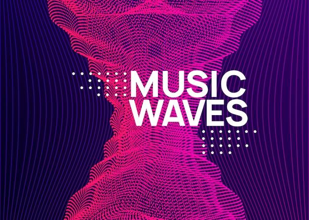 Muziekfest neon flyer. electro dans. elektronisch trance-geluid. t