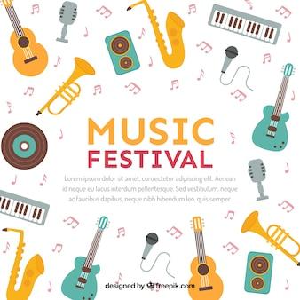 Muziekfestival achtergrond in vlakke stijl
