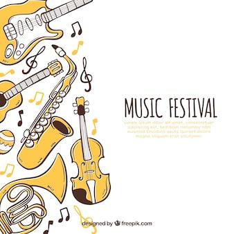 Muziekfestival achtergrond met instrumenten in hand getrokken stijl