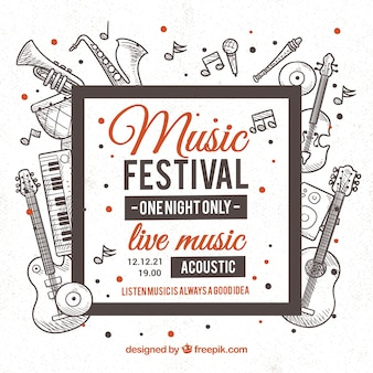Muziekfestival achtergrond met instrumenten in monolines