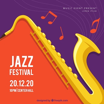 Muziekfestival achtergrond met saxofoon in vlakke stijl