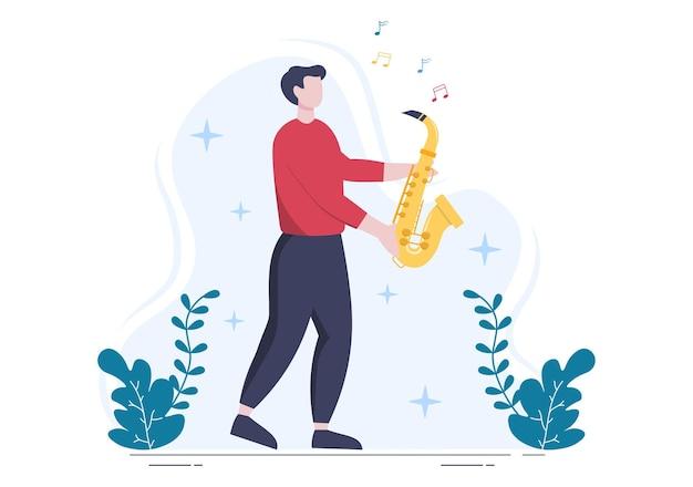 Muziekfestival achtergrond vectorillustratie met muziekinstrumenten en live zangprestaties voor poster, spandoek of brochure sjabloon