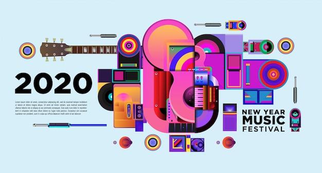 Muziekfestival banner voor 2020 nieuwjaarsfeest en evenement