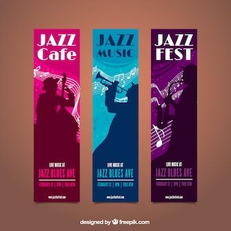 Muziekfestival banners met muzikant silhouetten
