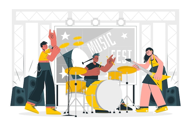 Muziekfestival concept illustratie