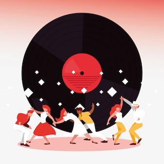Muziekfestival dansers en vinyl