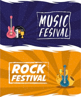 Muziekfestival entertainment uitnodiging poster
