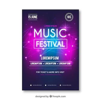 Muziekfestival-flyer in realistische stijl