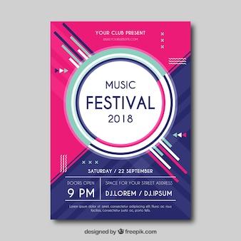 Muziekfestival flyer met abstracte stijl