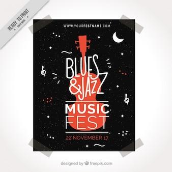 Muziekfestival flyer met decoratieve gitaar