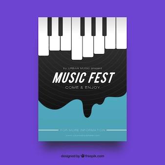 Muziekfestival-flyer met piano in vlakke stijl