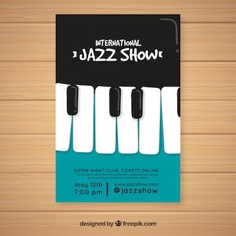Muziekfestival-flyer met piano