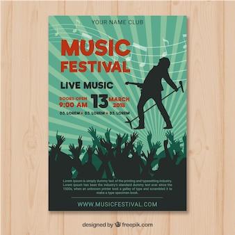 Muziekfestival-flyer met publiek in vlakke stijl