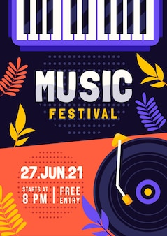 Muziekfestival geïllustreerde flyer