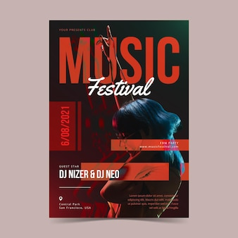 Muziekfestival geïllustreerde poster met foto
