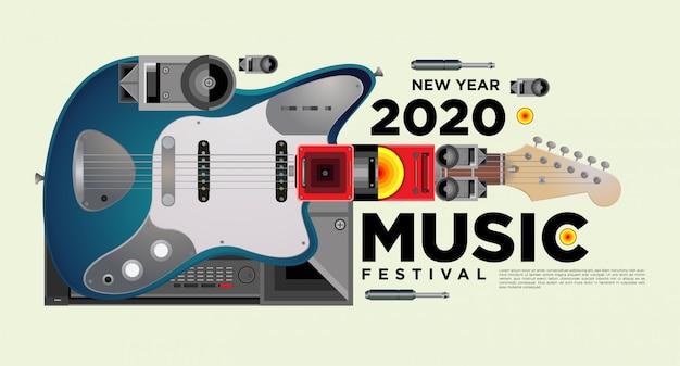 Muziekfestival horizontale poster sjabloonontwerp