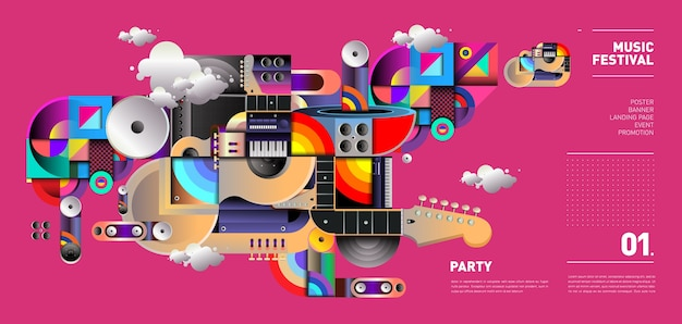 Muziekfestival illustratieontwerp voor feest en evenement