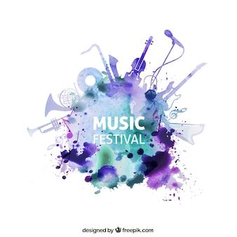 Muziekfestival in aquarel stijl