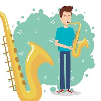 Muziekfestival leven met man saxofoon spelen
