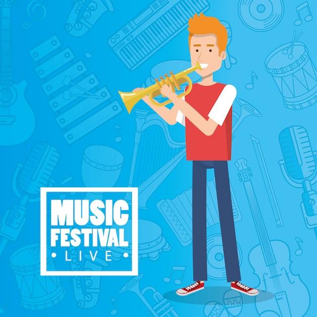 Muziekfestival leven met man trompet spelen