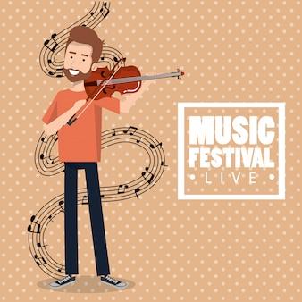 Muziekfestival leven met man viool spelen