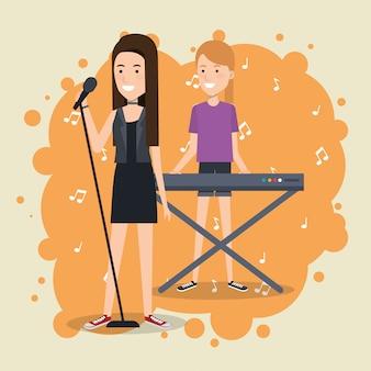 Muziekfestival live met vrouwen die piano spelen en zingen