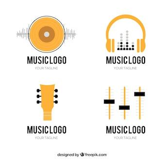 Muziekfestival logo-collectie met platte ontwerp
