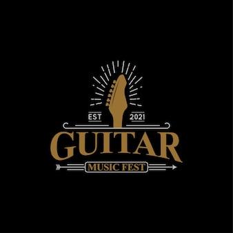 Muziekfestival logo ontwerp concept elektrische gitaar illustraties