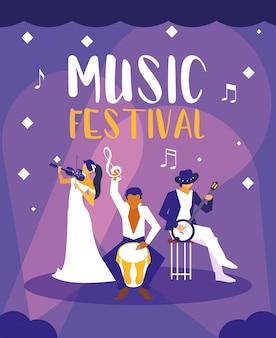 Muziekfestival met groep kunstenaars