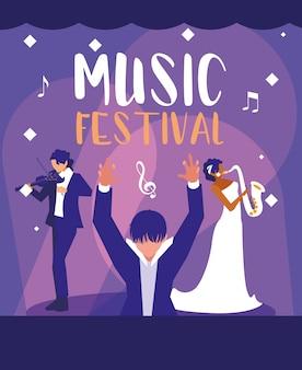 Muziekfestival met orkestleider