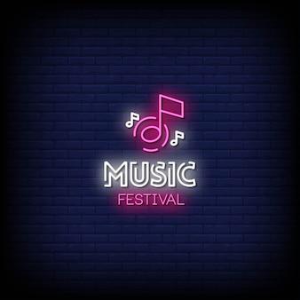 Muziekfestival neon signs style text