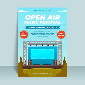 Muziekfestival podium buitenshuis poster
