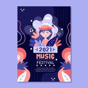 Muziekfestival poster 2021 geïllustreerde sjabloon