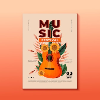 Muziekfestival poster gitaar met zonnebloem