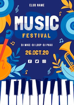 Muziekfestival poster met piano klavier