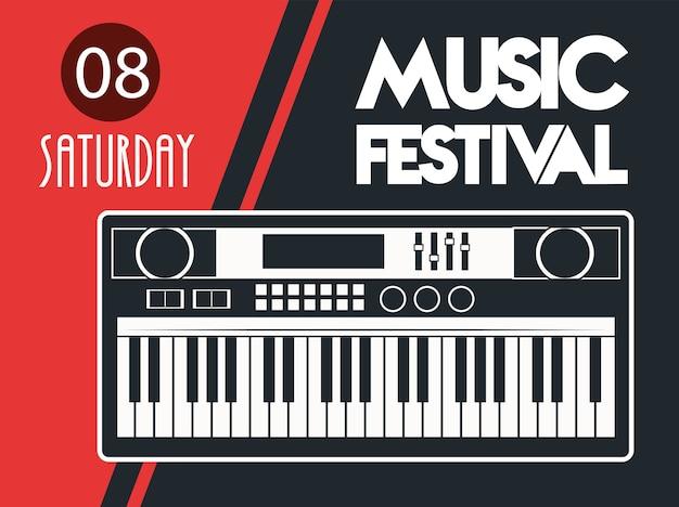 Muziekfestival poster met piano op rode achtergrond.