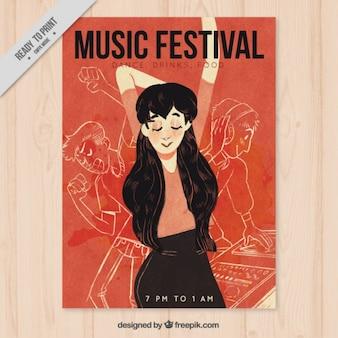 Muziekfestival poster met vrouw dansen