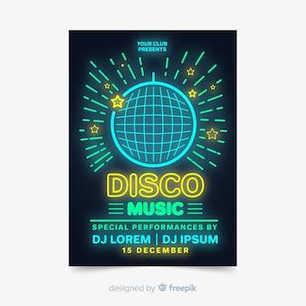 Muziekfestival poster sjabloon neonlichten stijl