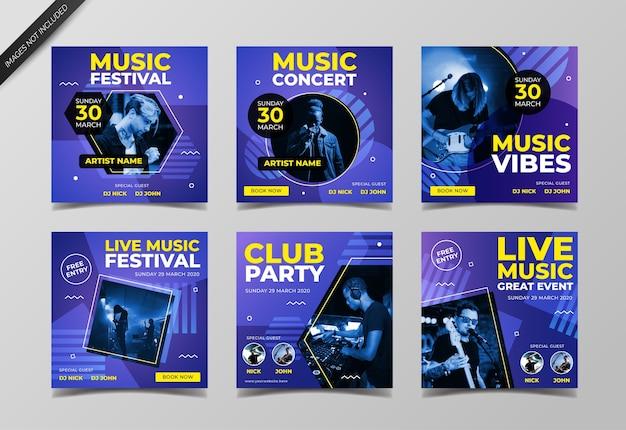 Muziekfestival social media post collectie sjabloon