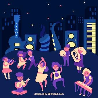 Muziekfestivalachtergrond met band en instrumentos