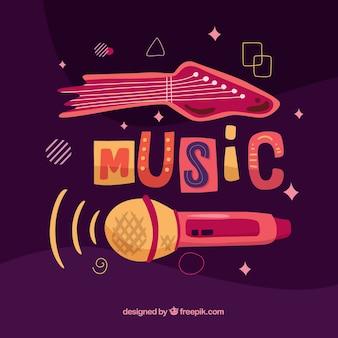 Muziekfestivalachtergrond met gitaar en microfoon