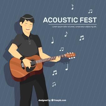 Muziekfestivalachtergrond met musicus het spelen gitaar